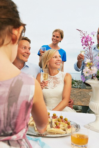 Couple making a toast with group of friends at wedding reception