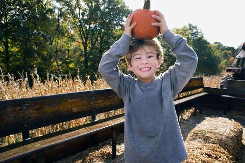 A little blond boy holding a pumpkin on his head