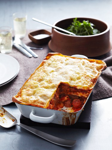 Veal and pork lasagne in a roasting dish