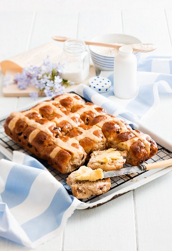 Hot cross buns, one buttered
