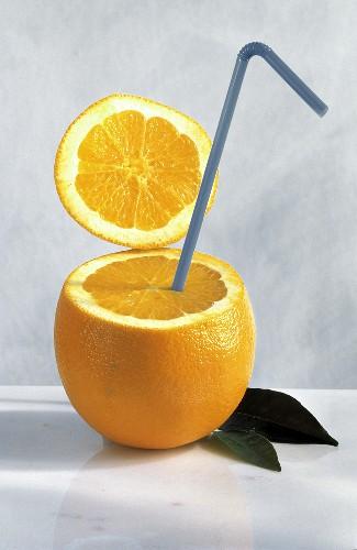 A Straw Stuck in an Orange