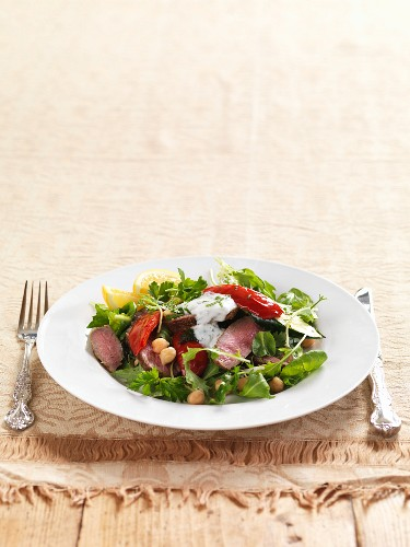 Algerian lamb salad with chickpeas and a yoghurt dressing