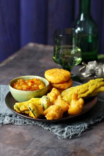 Vegetable pakoras with mango chutney