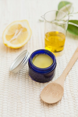 Homemade balm made from bees' wax, olive oil and essential lemon oil