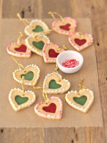 Shortbread hearts with sugar windows