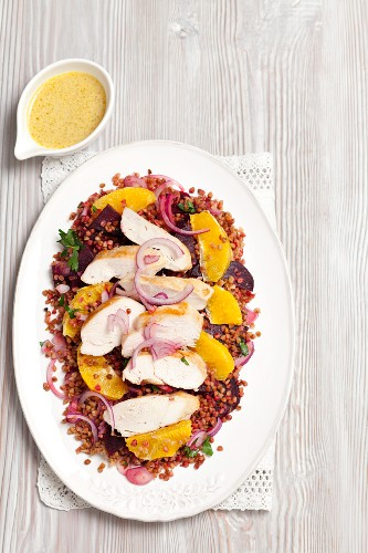 Buckwheat and beetroot salad with oranges and grilled chicken breast