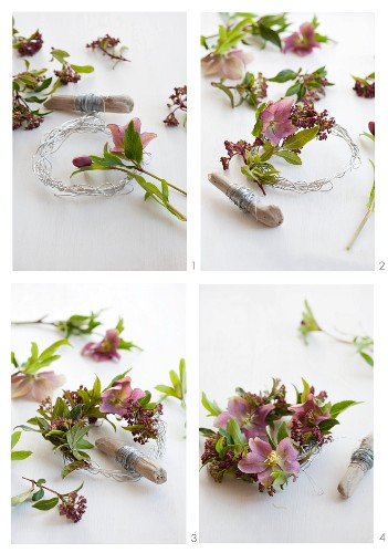 A wreath of Christmas rose being made