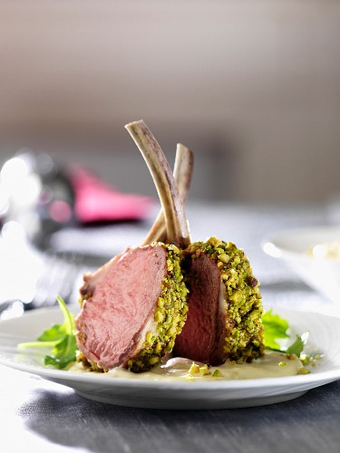 Lamb chops with a pistachio crust