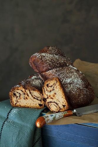 Plaited chocolate bread