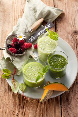 Three green smoothies