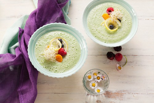Green smoothies served as cold soup