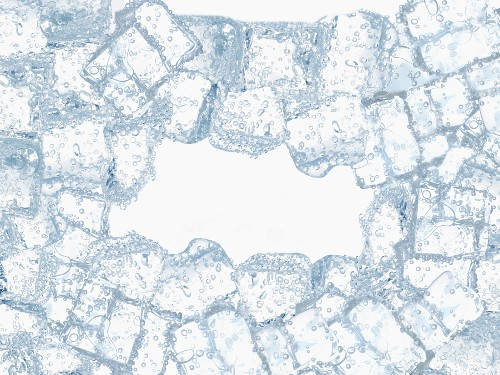 Ice cubes creating a frame