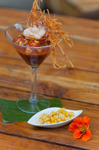 Prawn cocktail with sweetcorn in a Martini glass