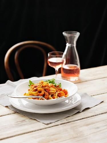 Linguine with chilli prawns, rocket and rosé wine
