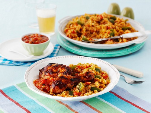Jerk chicken and jambalaya with salsa