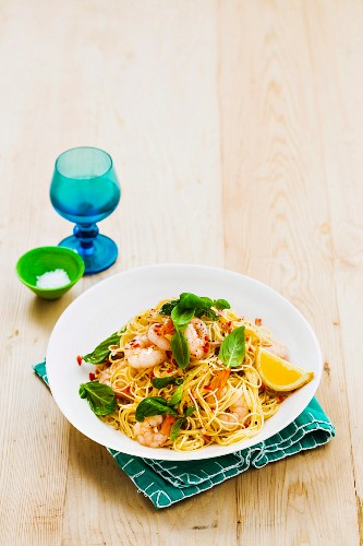 Chilli, basil and prawn capellini