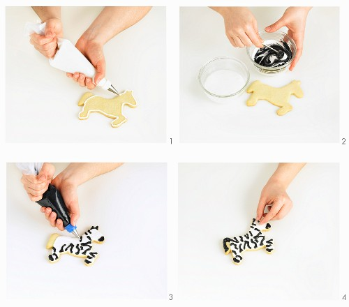 A zebra biscuit being made