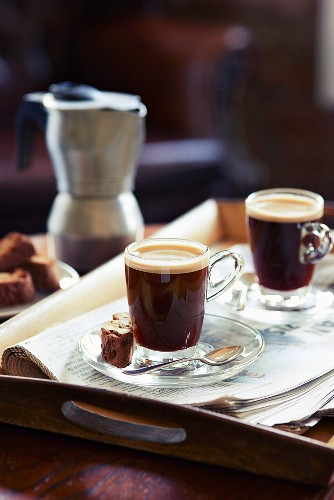 Espresso and biscotti in a cafe