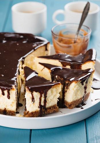 Cheesecake with nougat ganache, sliced