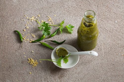 Green harissa sauce with fresh chilli peppers, coriander, parsley and lime juice