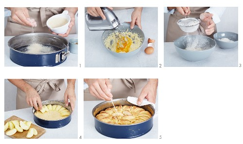 Apple cake being made