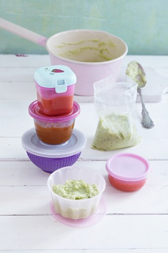 Portions of baby food for storage