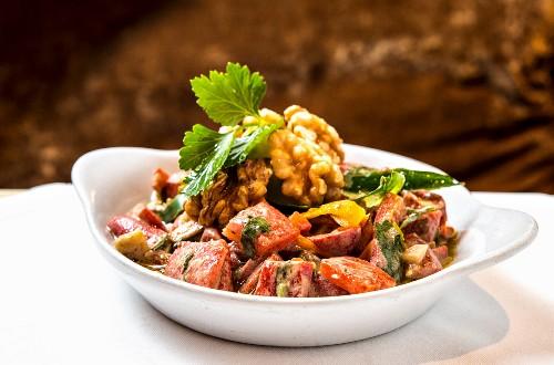 Tahinli Biber Salatasi (Turkish pepper salad with sesame seed mousse)