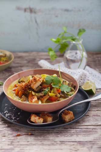Vegetable curry with coconut tofu