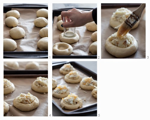 Vatrushka (potato rolls with cheese, Russia) being made