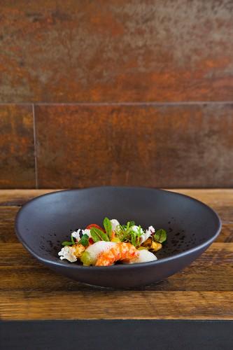Prawns with candied chesnuts, cauliflower, chorizo and almonds, 'Saint Crispin' restaurant, Melbourne, Australia