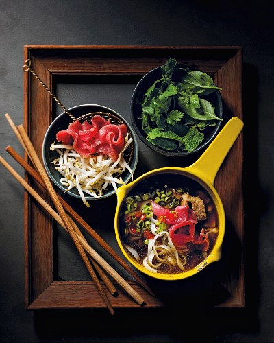 Pho noodle soup with beef