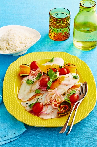 Fish with mustard pickled vegetables