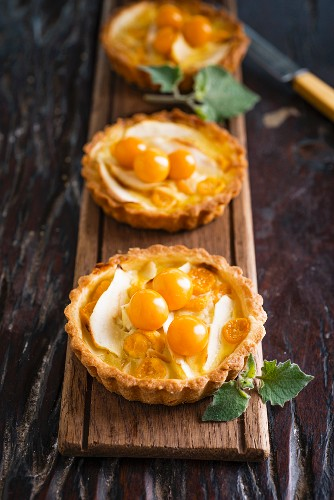 Almond and apple tartlets with physalis