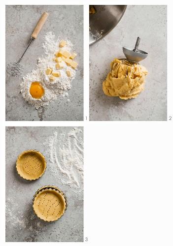Shortcrust tartlets being made