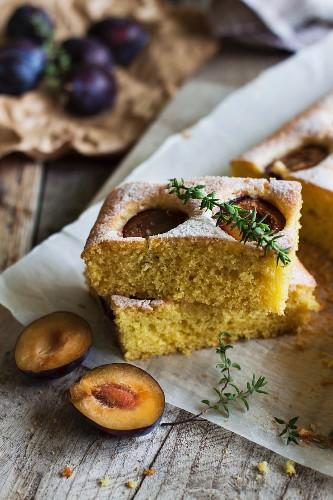 Plum cake with fresh thyme
