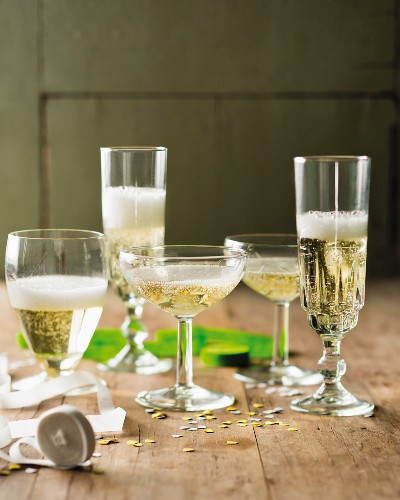 Various glasses of Prosecco