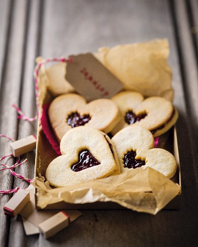 Jam sandwich biscuits in a cardboard box as a gift