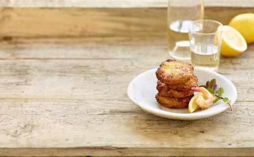 Potato and prawn fritters