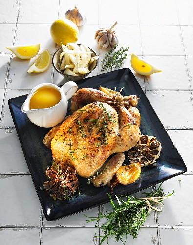 Roast chicken with garlic and lemon