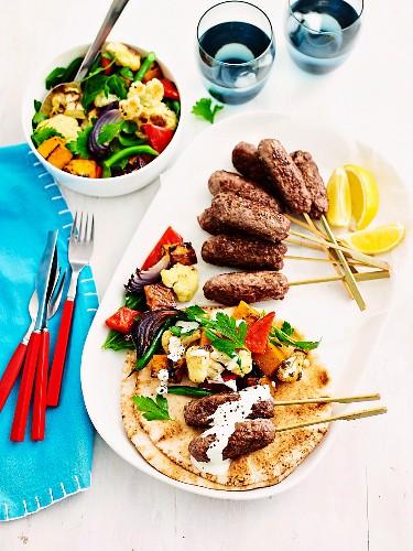 Lamb koftas with roast vegie salad