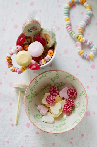 Various bonbons and lollipops