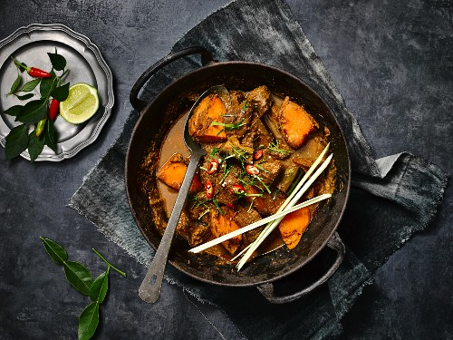 Coconut and beef curry with chilli