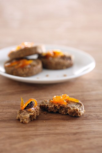 Wholemeal nut biscuits with candied orange peel