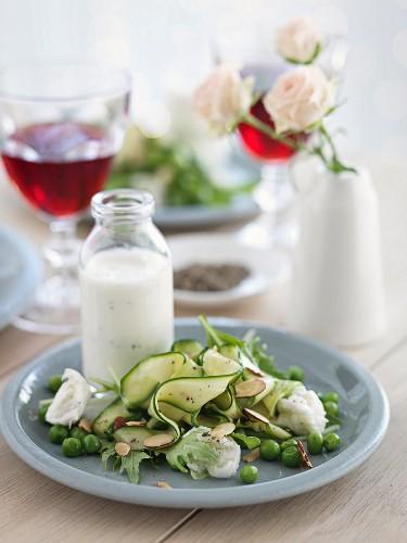 Grüner Sommersalat mit Joghurtsauce und Mozzarella