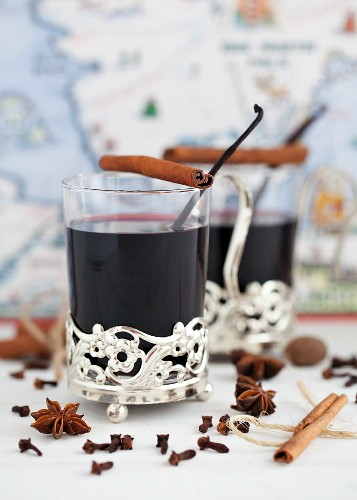 Two glasses of mulled wine with spices