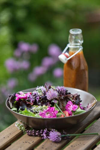 Lilac salad with a dressing