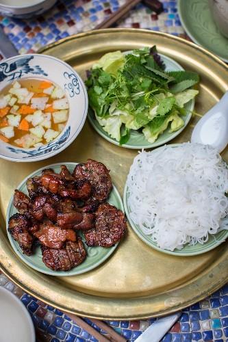Bun cha (grilled pork with rice noodles, Hanoi, Vietnam)