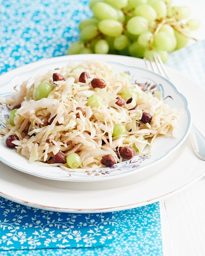 White cabbage with grapes and nuts