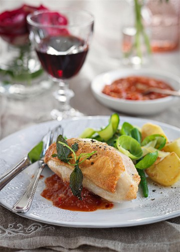 Sage chicken with tomato sauce