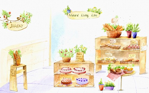 A bakers with baked goods, cakes and pastries (illustration)